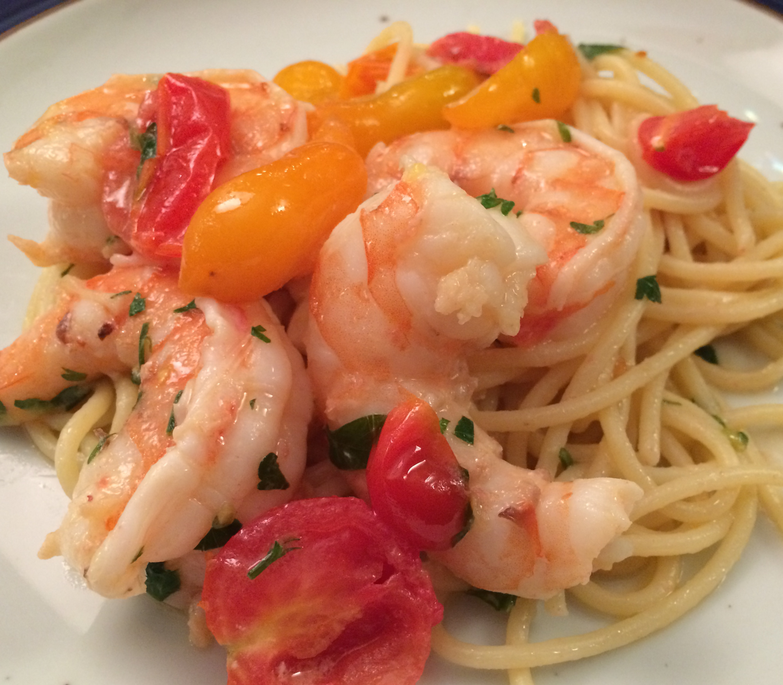 Slim Man Cooks Shrimp Scampi
