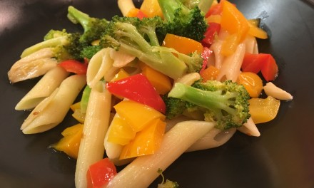Slim Man Cooks Broccoli and Peppers