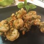 Slim Man Cooks Shrimp with Pesto