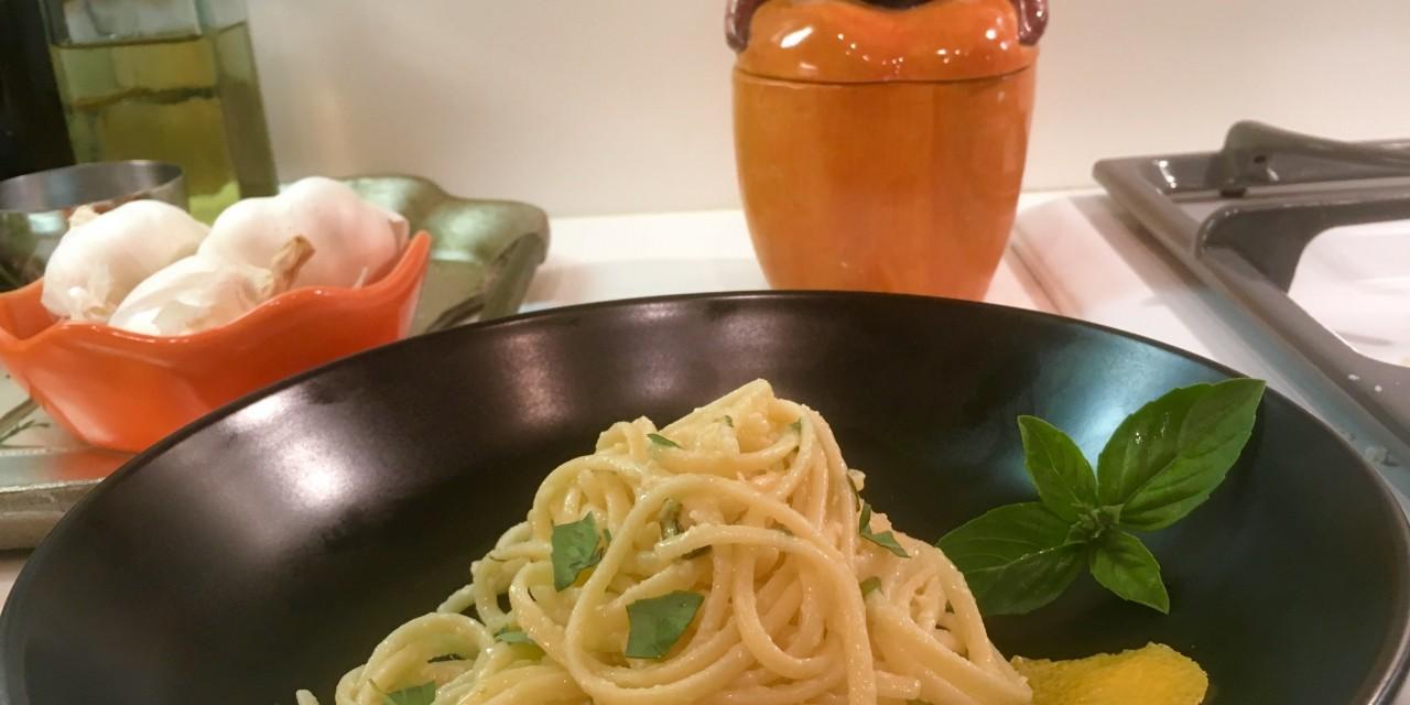 Slim Man Cooks Pasta with Lemon and Limoncello