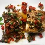 Slim Man Cooks Halibut with Peppadew, Olives, and Garlic