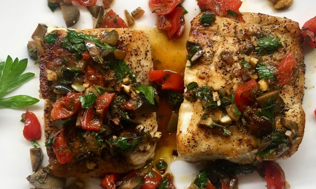 Slim Man Cooks Halibut with Peppadew, Olives, and Garlic