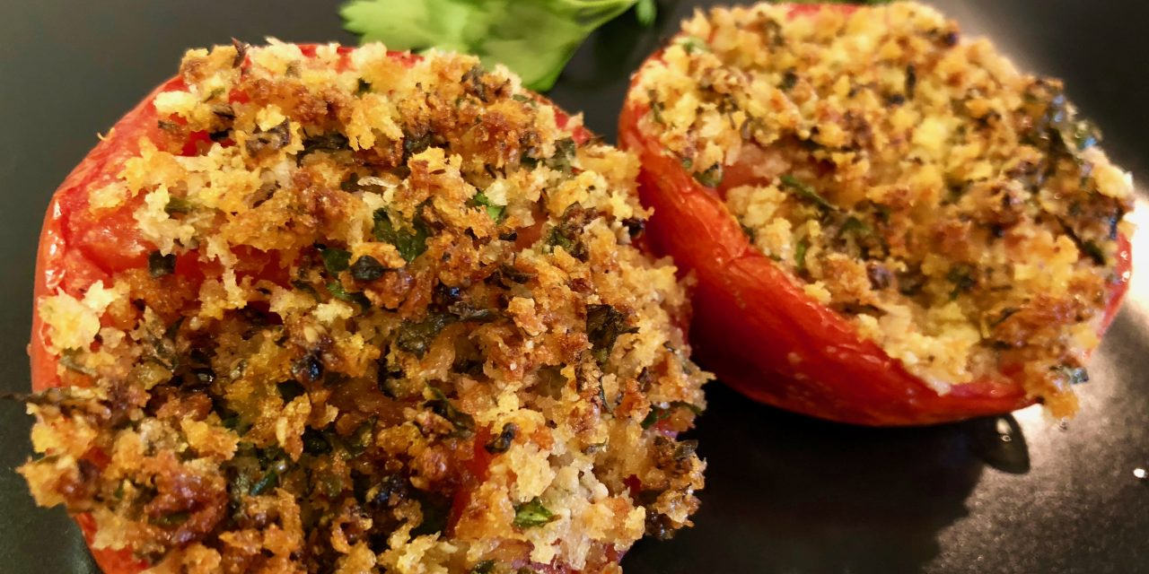 Slim Man Cooks Baked Tomatoes with Parmigiano and Panko