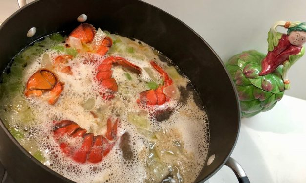 Slim Man Cooks Risotto with Lobster