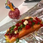 Slim Man Cooks Baked Salmon in Foil with Tomatoes, Garlic and Basil